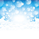 Lather. Lots of foam and transparent bubbles on a blue background Stock Photo