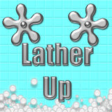 Lather up. Bubbles on tile with chrome faucet handles illustration Stock Images