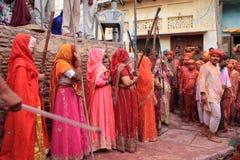 Lathmar Holi Celebration at Nandgaon Royalty Free Stock Photography