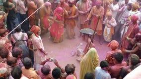 Lathmar holi festival in barsana stock footage