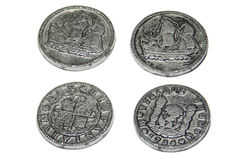 2 lati di 2 vecchie monete Immagine Stock Libera da Diritti