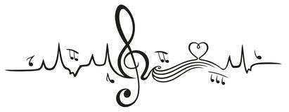 Latido del corazón, amor para la música ilustración del vector