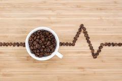 Latido del corazón de los granos de café Fotos de archivo libres de regalías