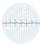 Latido del corazón en el globo binario Foto de archivo libre de regalías