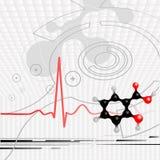 Latido del corazón y molécula Fotos de archivo