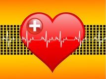 Latidos del corazón en gráfico stock de ilustración