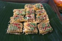 Latieng ou Fried Prawns & porca envolvido em uma rede do ovo, alimento do conceito, partido Foto de Stock Royalty Free