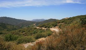 Latigo Canyon Road Panorama. Panorama of a road through the Santa Monica Mountains, California Stock Photo
