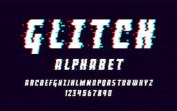 Latijns alfabet In doopvont 2018 stijl vervormde glitch lettersoort Letters en getallen vectorillustratie Royalty-vrije Stock Afbeelding
