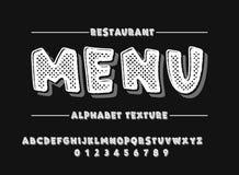Latijns alfabet Gewaagde doopvont in de leuke witte 3d stijl van het textuurbeeldverhaal Royalty-vrije Stock Foto