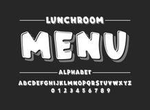 Latijns alfabet Gewaagde doopvont in leuke witte beeldverhaal 3d stijl Stock Afbeeldingen