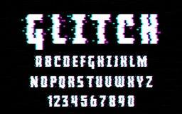 Latijns alfabet In stijl vervormde glitch lettersoort Letters en getallen vectorillustratie Royalty-vrije Stock Afbeeldingen