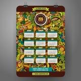 Latijns-Amerikaans de Kalender 2016 jaar van het krabbelsbeeldverhaal Stock Afbeelding