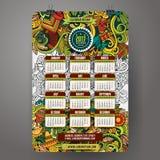 Latijns-Amerikaans de Kalender 2017 jaar van het krabbelsbeeldverhaal Stock Afbeelding
