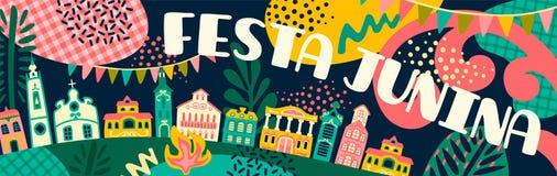 Latijns-Amerikaanse vakantie, de Juni-partij van Brazili? Festa Junina Vector banner royalty-vrije illustratie