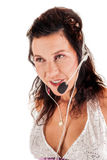 Latijns-Amerikaanse vrouw met een hoofdtelefoon Stock Afbeelding