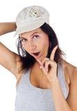Latijns-Amerikaanse vrouwelijke schok zijn vinger Stock Afbeelding