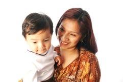 Latijnse Spaanse Moeder en zoon Stock Foto