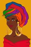 Latijnse Vrouw Cubaans meisje met kleurrijke tulband en grote gouden oorringen Zuidamerikaans wijfje Vector illustratie Royalty-vrije Stock Foto's