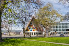 Latimer Square and Cardboard Cathedral, Christchurch NZ royalty free stock image