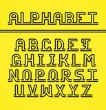 Latin alphabet. Black letters with shadow. English alphabet. Capital letters of the alphabet in a trendy concept linear style. Black letters with a light shadow Royalty Free Stock Photography