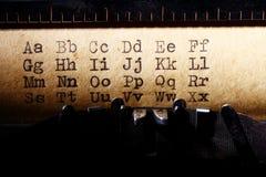 Latin alphabet, font printed on vintage typewriter Royalty Free Stock Image