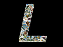 Latin alphabet letter L made like collage of travel photos Stock Images