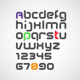 Latin alphabet letters and numbers with rounded corners Stock Photography