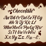 Latin alphabet in liquid style. Hand writing brown chocolate letters. Vector illustrations Royalty Free Stock Image