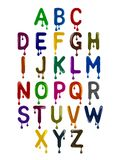 The Latin alphabet is made up of colorful letters with drops. On white background stock illustration