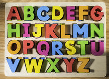 Latin alphabet multicolored letters Royalty Free Stock Images