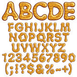 Latin alphabet and numbers made of honey. EPS10 Stock Image