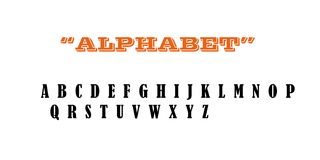 Latin alphabet in orange highlighted with black letters. 2d illustration in which all the letters belonging to the Latin alphabet are shown on a white background Royalty Free Stock Images