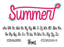 Latin alphabet Summer. Font handwriting with upper and lowercase characters, numbers and symbols. Modern script of. Monolines. For your design Stock Photography
