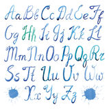 Latin alphabet watercolor. Hand painted watercolor alphabet font. Calligraphy Script. Uppercase and lowercase letters on a white background Stock Photo