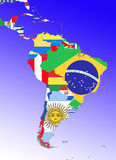 Latin America. Symbolic image: Latin America: South America, Middle America: outline and flags