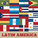 Latin america countries. Flags of latin america countries. colorful design. illustration stock illustration