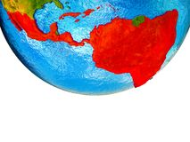 Latin America on 3D Earth. With divided countries and watery oceans. 3D illustration royalty free stock images