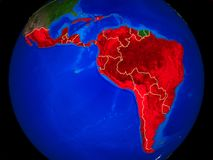 Latin America on Earth with borders. Latin America from space on model of planet Earth with country borders and very detailed planet surface. 3D illustration royalty free illustration