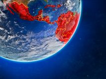 Latin America on Earth from space. Latin America on model of planet Earth with country borders and very detailed planet surface and clouds. 3D illustration vector illustration