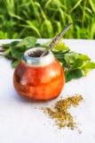 Latin America herbal tea in mate calabash with bombilla Stock Image