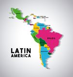 Latin america map. Map of Latin America with the countries demarcated in different colors. colorful design.  illustration Royalty Free Stock Image