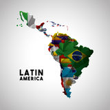 Latin america map. Map of Latin America with the flags of countries. colorful design.  illustration Stock Photos