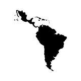 Latin america map. Silhouette of latin america map icon over white background. illustration royalty free illustration