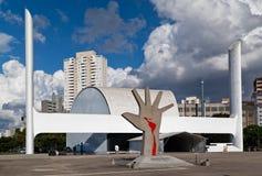 Latin America Memorial Sao Paulo Brazil. The modern buildings of the Latin America Memorial and a sculpture of a hand with the latin america map in blood. Sao stock image