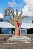 Latin America Memorial Sao Paulo Brazil. The modern buildings of the Latin America Memorial and a sculpture of a hand with the latin america map in blood. Sao royalty free stock photo