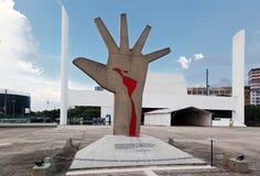 Latin America Memorial Sao Paulo Brazil. The modern buildings of the Latin America Memorial and a sculpture of a hand with the latin america map in blood. Sao royalty free stock photography
