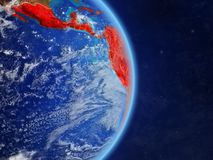 Latin America on planet Earth. Latin America on planet planet Earth with country borders. Extremely detailed planet surface and clouds. 3D illustration. Elements vector illustration