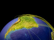 Latin America on Earth from space. Latin America on planet Earth with country borders and trajectories representing international communication, travel royalty free illustration