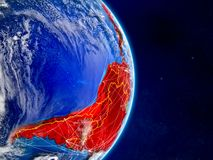 Latin America on planet Earth with networks. Extremely detailed planet surface and clouds. 3D illustration. Elements of this image. Furnished by NASA vector illustration
